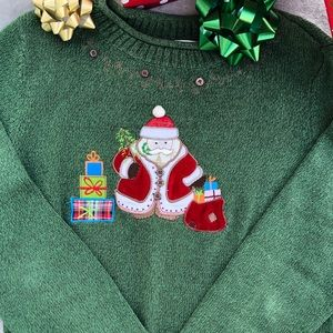 Christmas Sweater Green with Santa